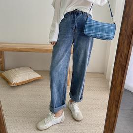 DALIYU 裤型Chao好的宽松直筒十分牛仔裤女半松紧腰显瘦水洗长裤