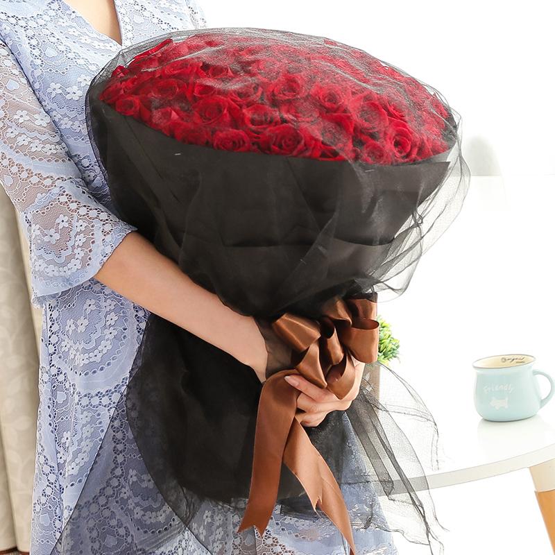 网红19枝99枝玫瑰花束上海杭州南京苏州鲜花快递情人节玫瑰花送老