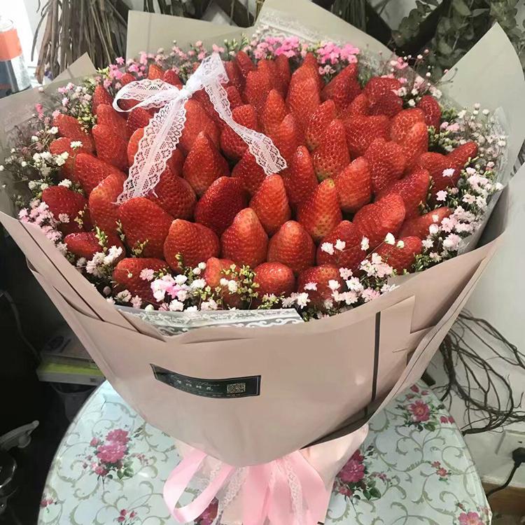 网红草莓花束成都重庆南京鲜花同城速递配送送女友生日爱人天津送