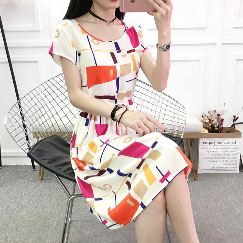 女士棉绸连衣裙2020夏季有口袋人造棉碎花中长款收腰抽绳绵绸裙子