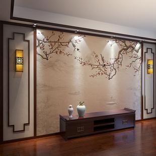 2019电视机背景墙壁纸中式客厅影视墙古风梅花墙纸定制壁画墙壁布