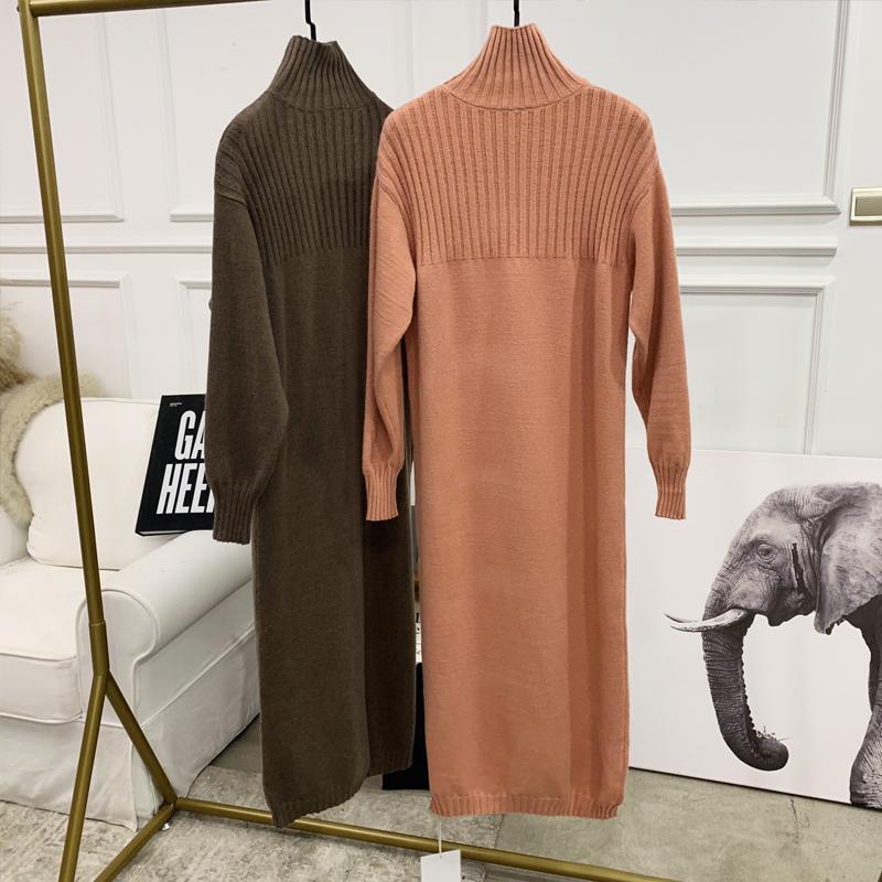 ANNA2018冬季新款高领针织裙连衣裙气质百搭过膝毛衣长裙女装