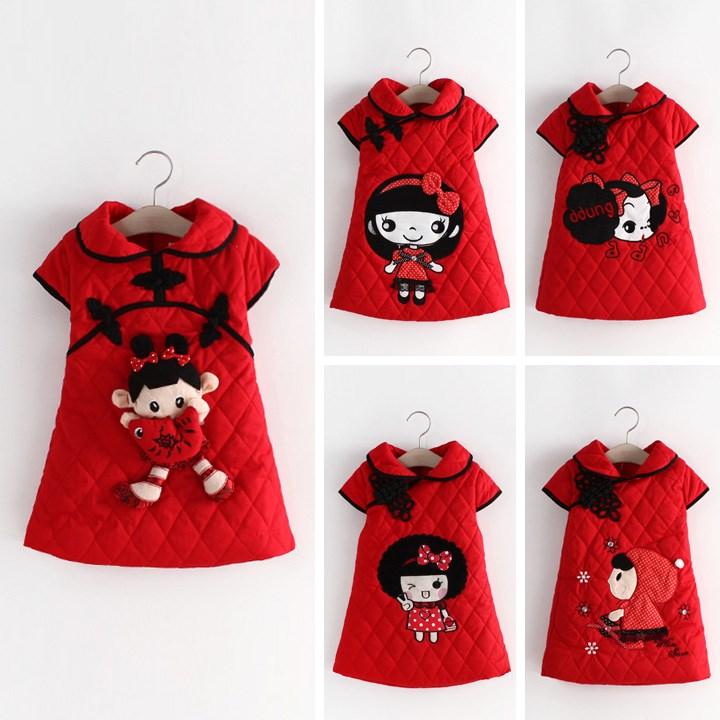 女童旗袍唐装冬款中国风宝宝毛衣裙新年周岁生日1-2-3岁红色