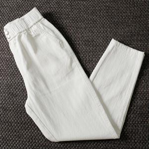 冬季加绒直筒牛仔裤女高腰显瘦小脚九分萝卜裤春秋白色宽松哈