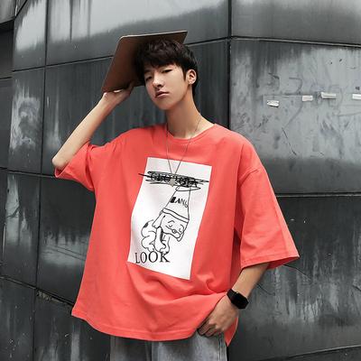 原创港风青少年人物印花宽松圆领短袖T恤 A353-2-T40-P35 橘色