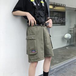 日系工装短裤大口袋五分裤男女宽松BF风中裤A353-2-XK45-P48 绿男