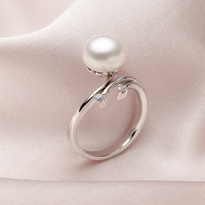 Beautiful lily 925 silver pearl ring simple fashion ring