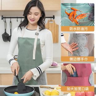 家用可擦手围裙女厨房防油污时尚围腰日式厨房厨师做饭防水罩衣男