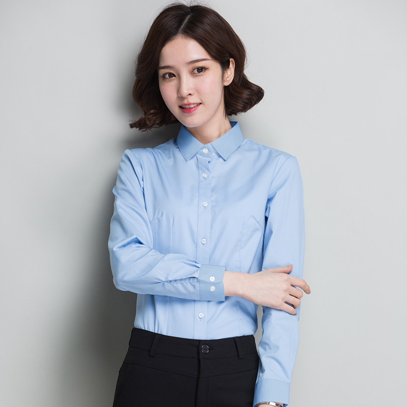 Long sleeve white shirt womens summer work clothes long sleeve business wear ol square neck easy to wear and wrinkle resistant Korean white shirt