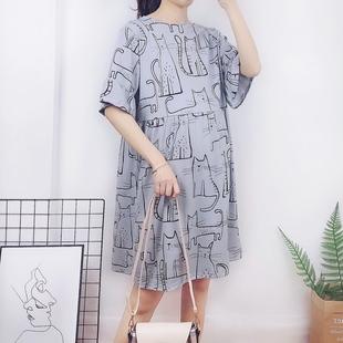韓版孕婦連衣裙夏短袖中長款卡通寬松大碼孕婦裙上衣孕婦裝夏裝