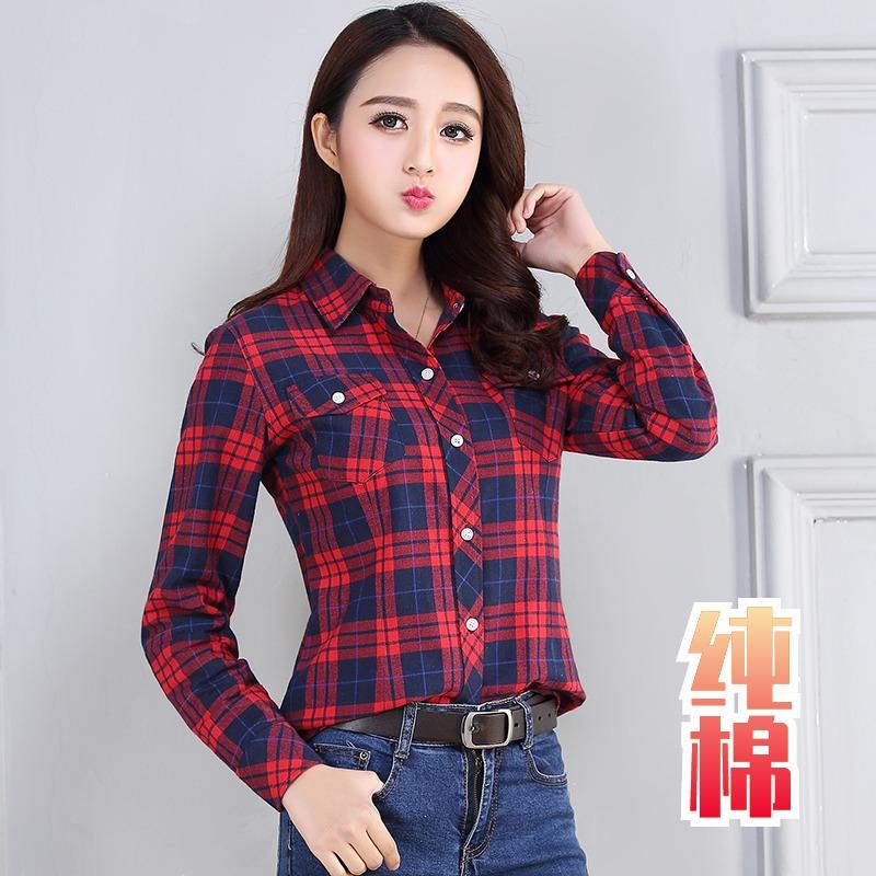 2021春秋新款纯棉格子衬衫女长袖韩版宽松衬衣大码女装学生外套