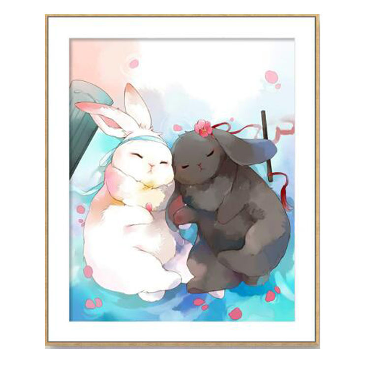 Antique cross stitch 2021 new lovers rabbit cartoon student hand embroidery small piece self embroidered cotton thread embroidery