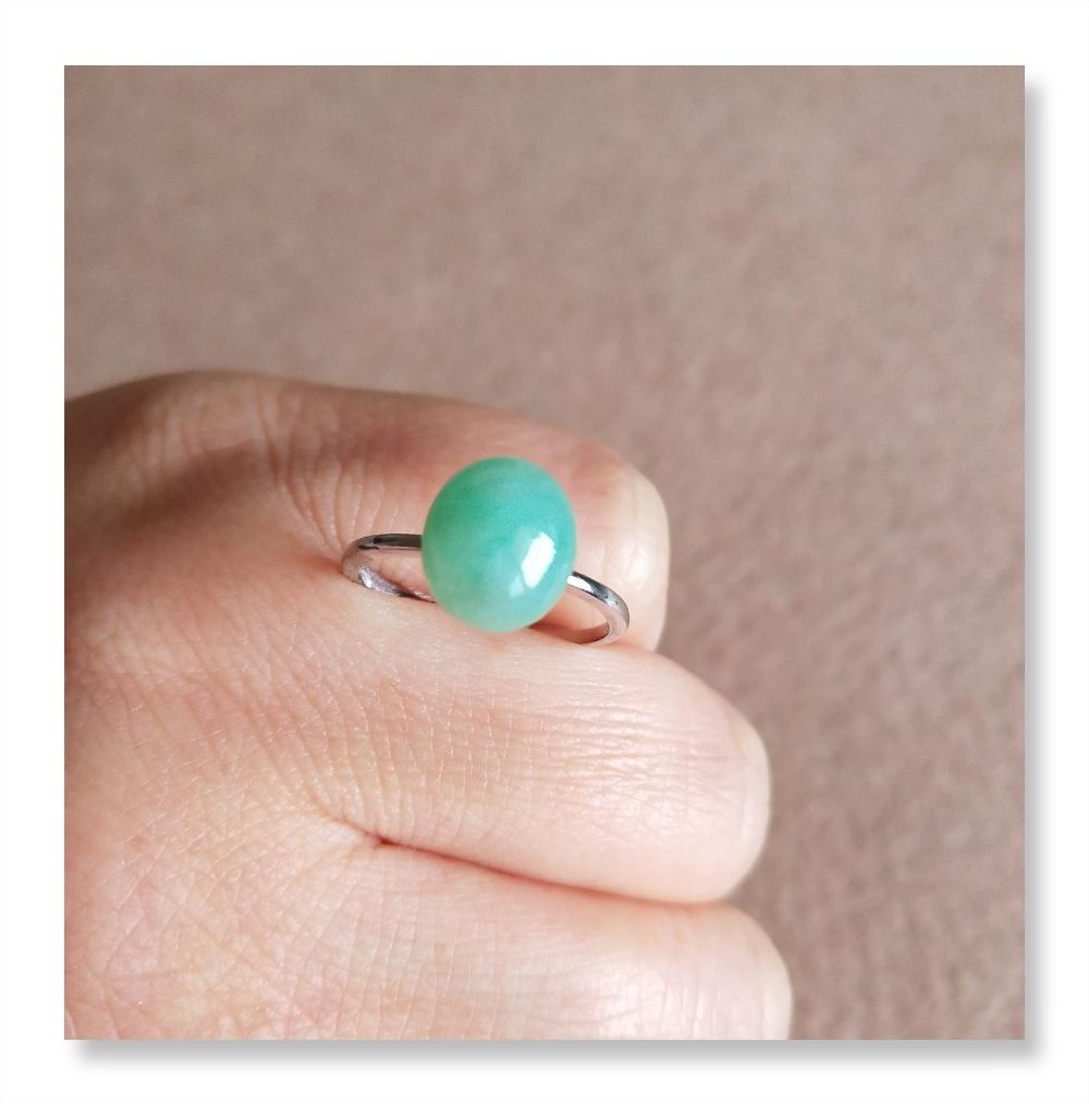 A货翡翠戒指阳绿色缅甸天然玉戒指指环正品925纯银镶嵌女士戒指