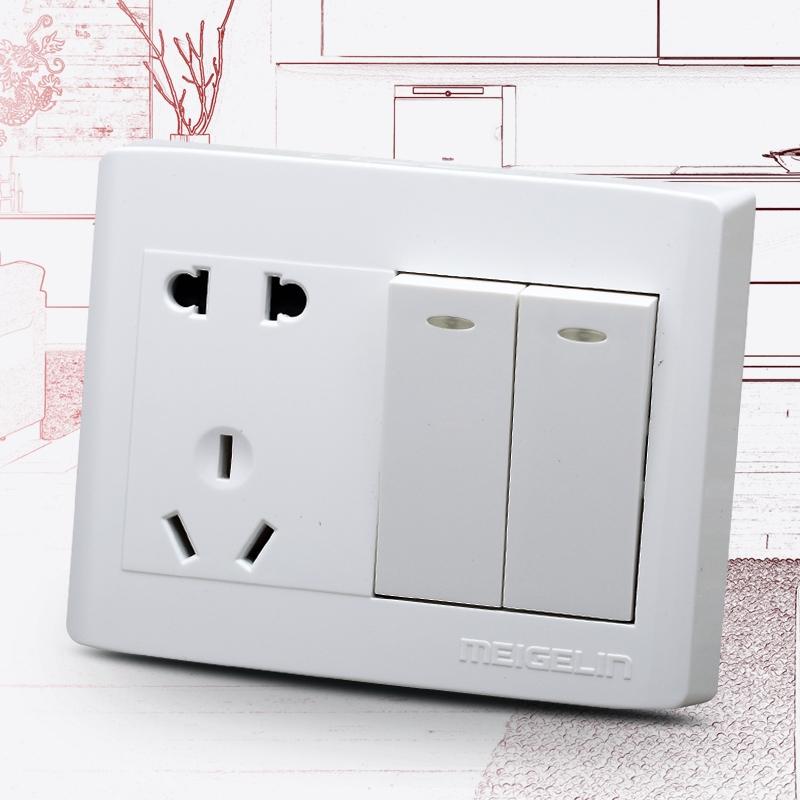 10月09日最新优惠明装墙壁开关插座面板五孔插座带开关两开二开双控双开双联雅白