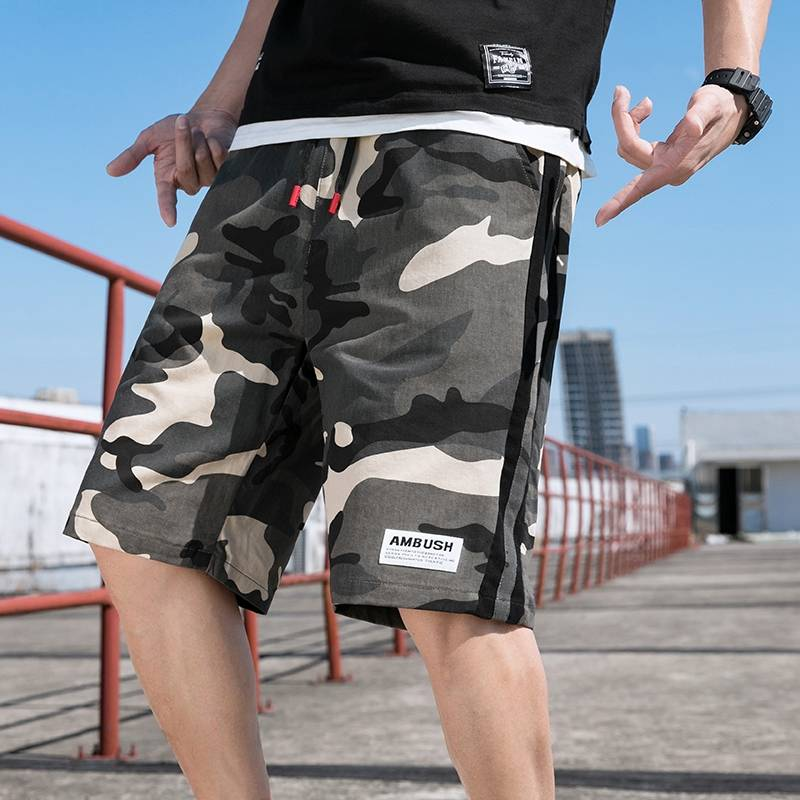 Official website Haomai special step camouflage shorts mens fashion brand ins casual summer loose and fat plus size fat Japanese