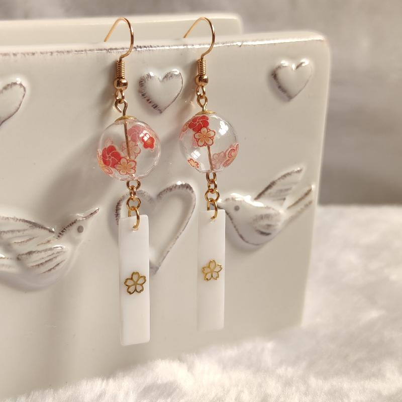 Bird todays heart [Cherry Blossom wind chime] Japanese Hefeng soft cute Earrings ear clip cute Earrings niche style