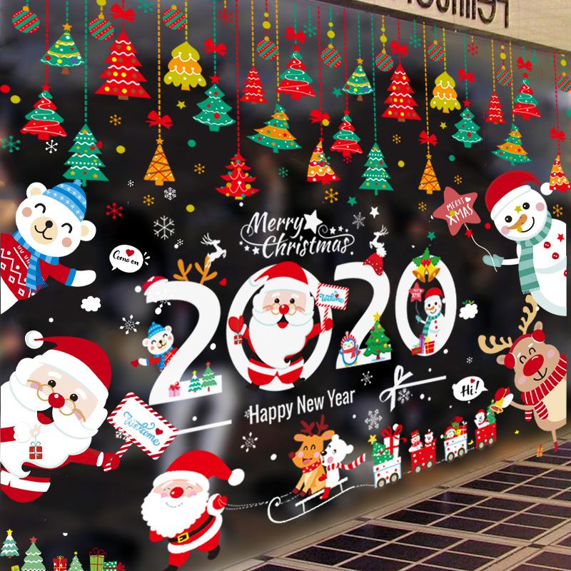 圣诞节装饰品贴纸玻璃贴场景布置树贴画儿童礼物橱窗门贴静电窗贴