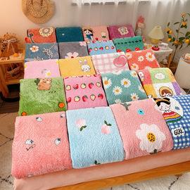 牛奶绒床盖加厚绗缝垫毛毯垫铺床上夹棉防滑垫珊瑚绒床单韩式垫子图片