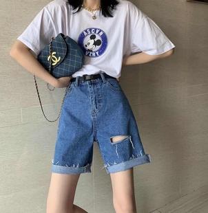 韩版潮流夏薄款直筒宽松高腰阔腿裤