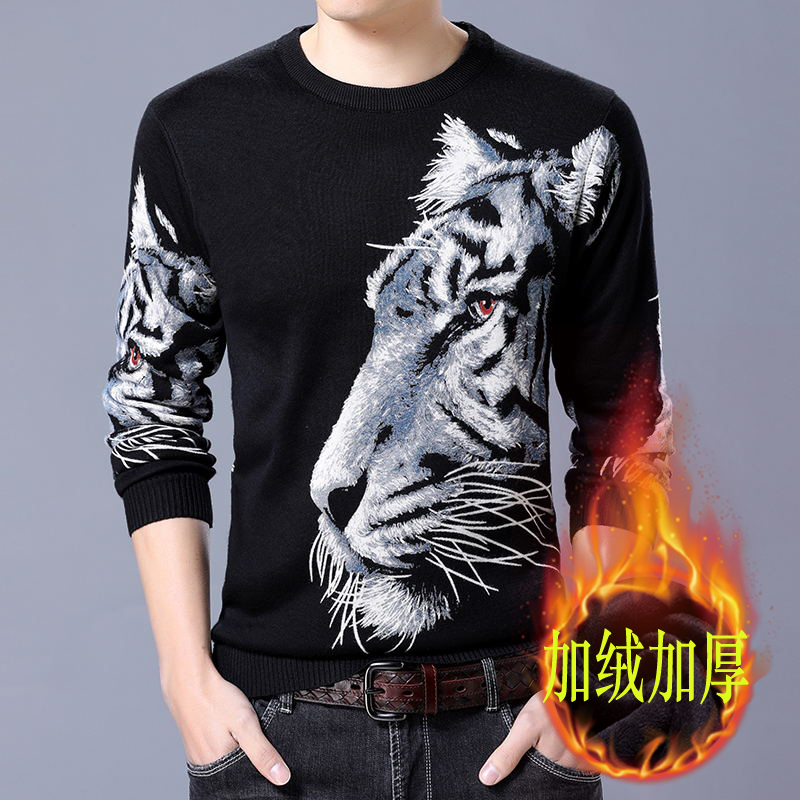 Winter thick Plush pattern sweater mens round neck Tiger Print sweater cashmere sweater bottom line fashion