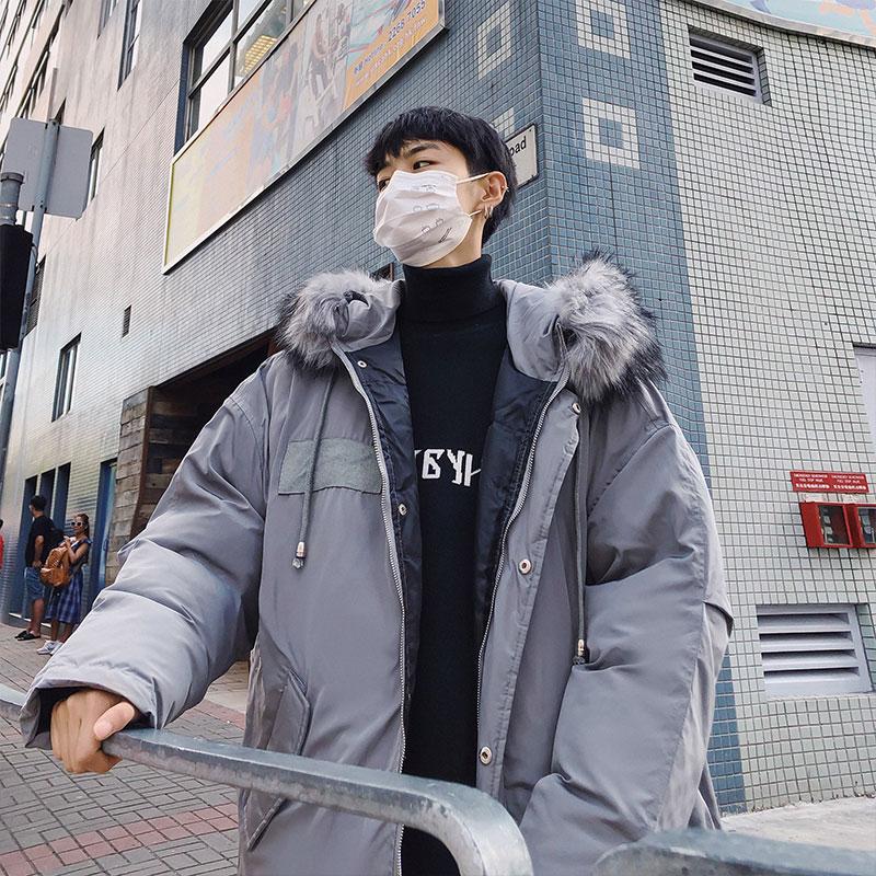 冬装2018新款加厚毛领棉服韩版学生潮流中长款棉衣#793#杨杨家