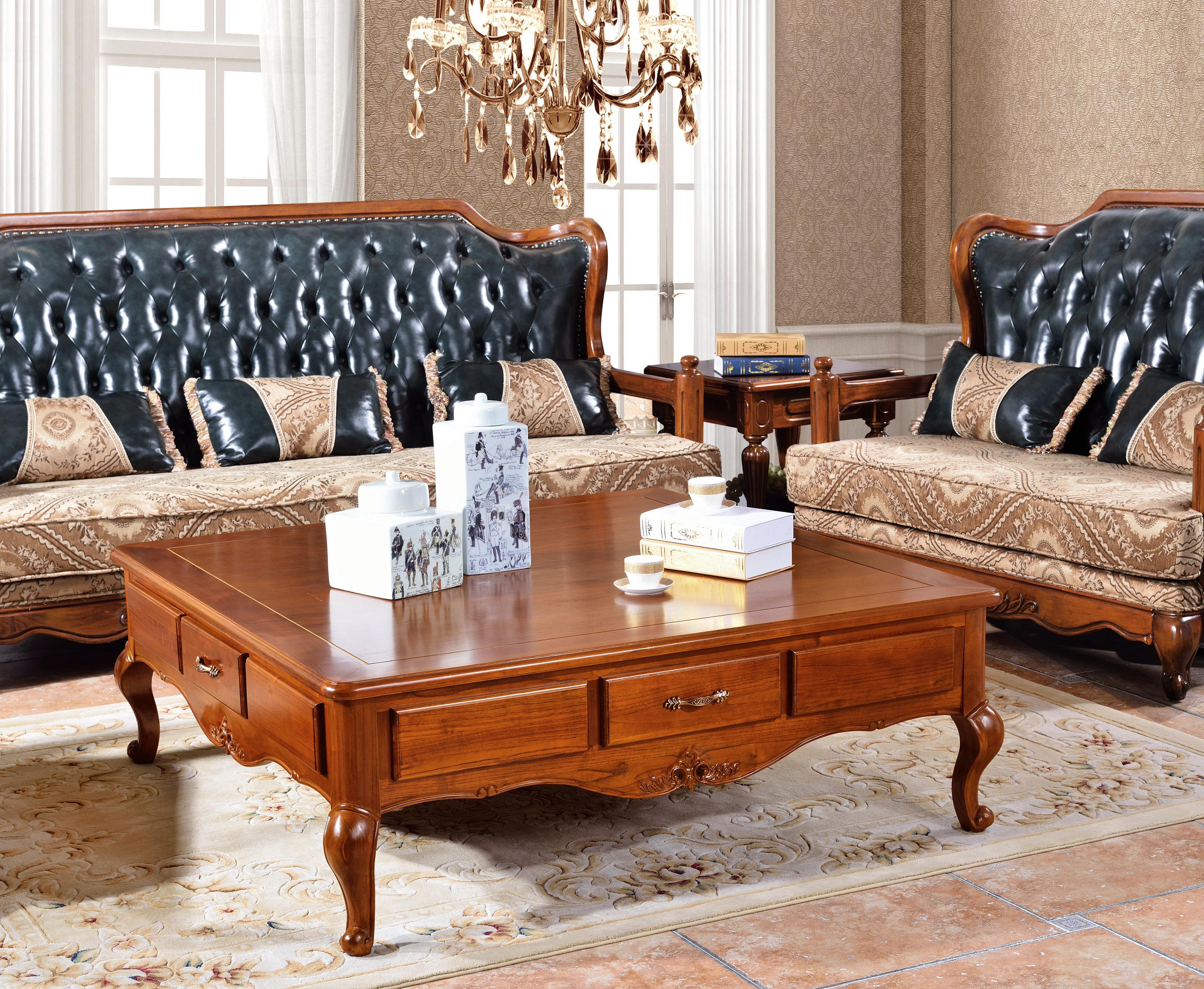 超值红椿木实木家具美式乡村复古真皮沙发三件套客厅沙发