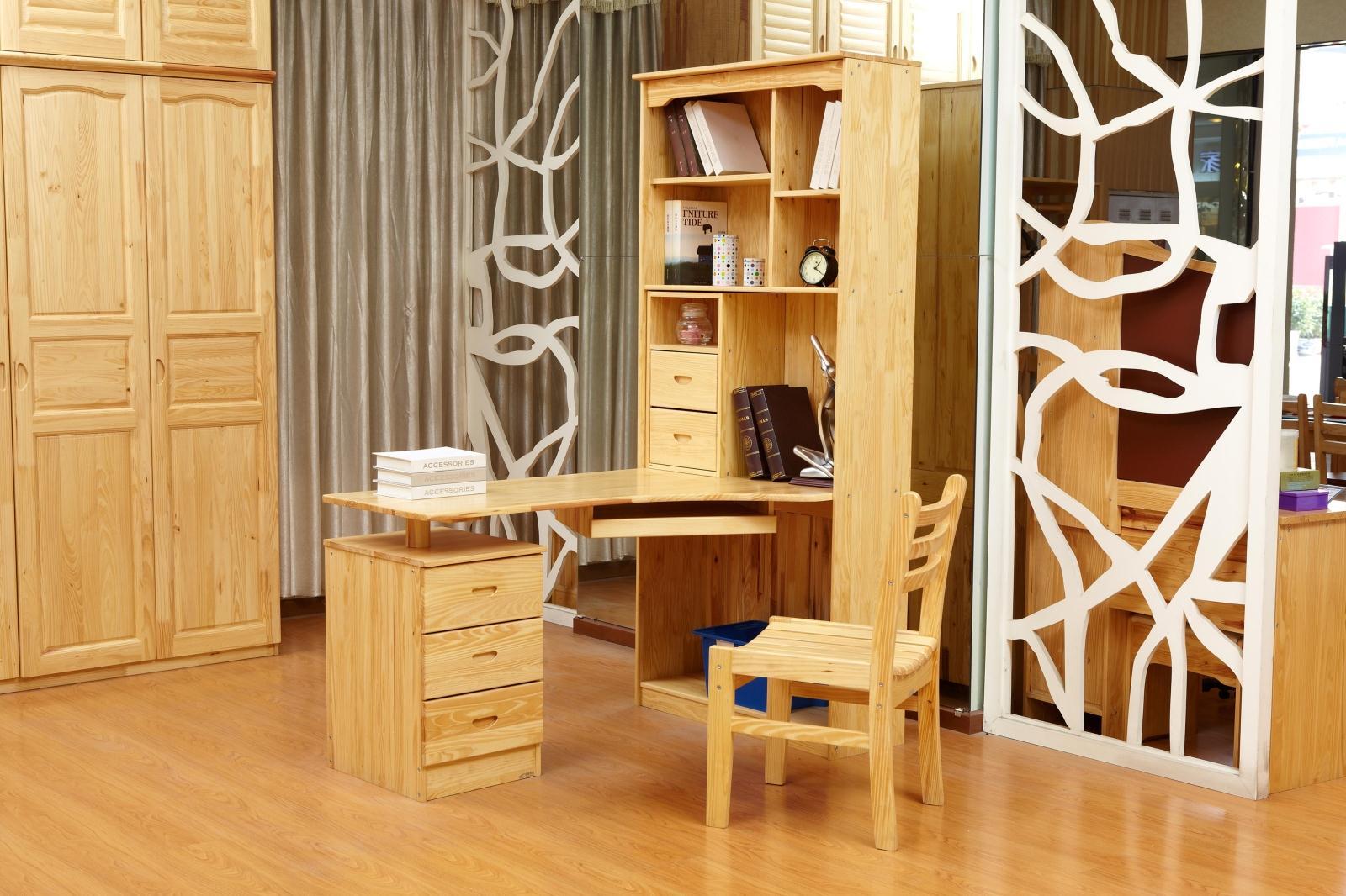 实木家具国林木业 松木全实木带书架托板简约现代松木电脑桌椅