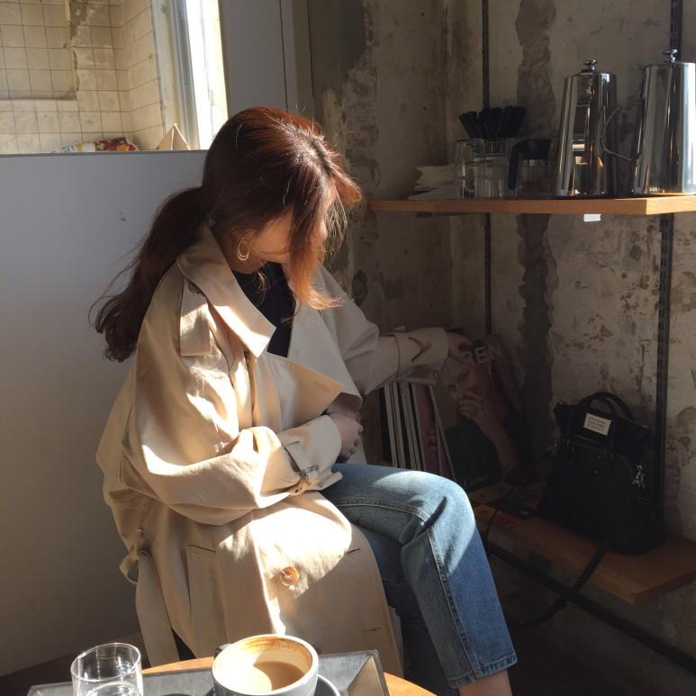 韩国复古学院宽松外套女双排扣长款风衣8米2今日气场秋天瞩目