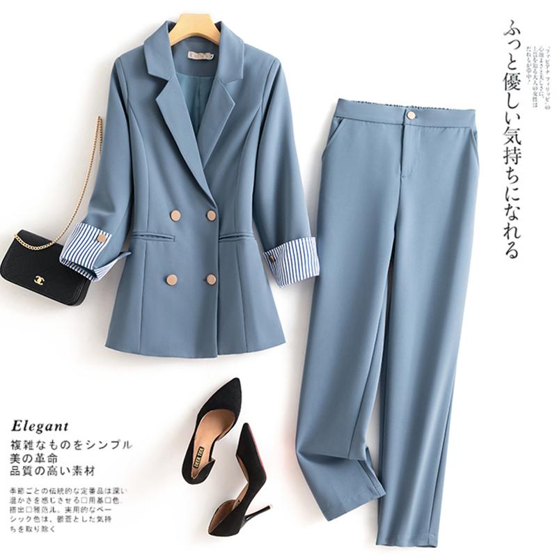 大码女装春秋韩版显瘦气质时尚胖妹妹炸街职业西装外套两件套装女