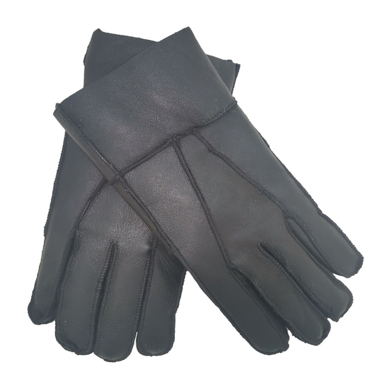 Mens outdoor motorcycle and tram warm and thick wind proof leather gloves winter wool leather integrated ski gloves