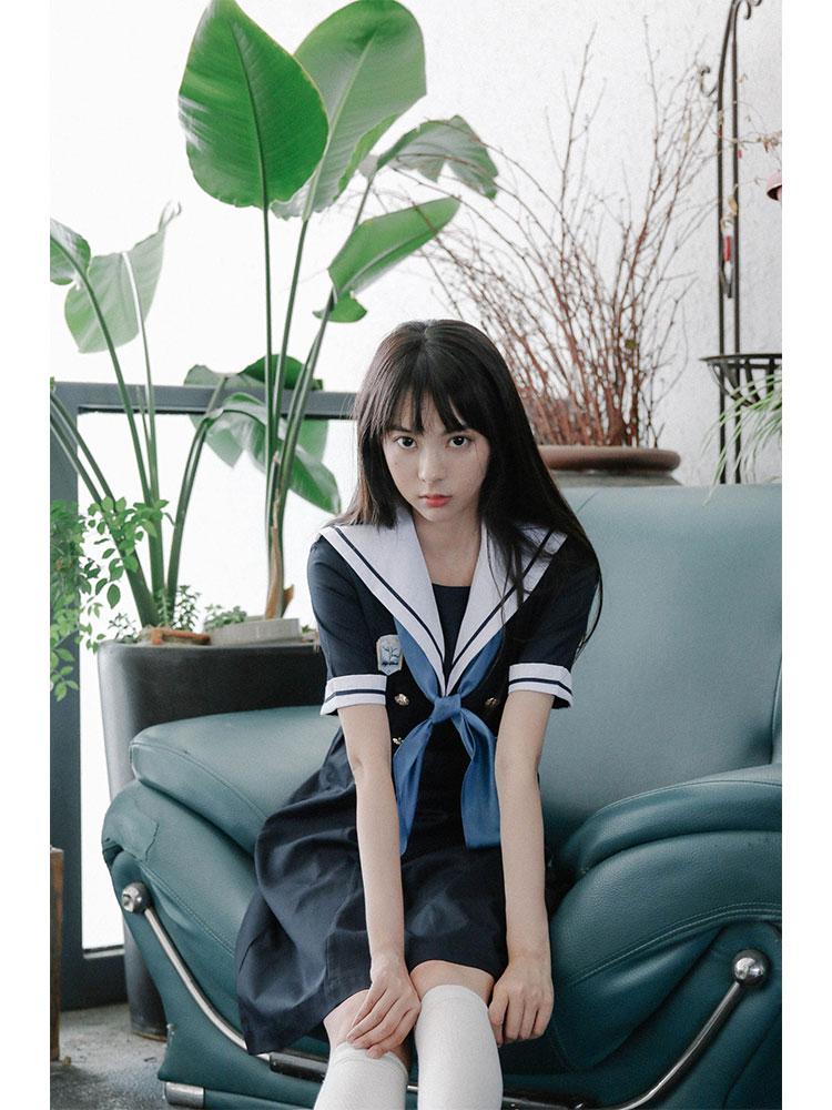 (用1元券)【现货】桃沢JK 【月/夜摩罗】原创水手服 盛夏服 正统JK制服