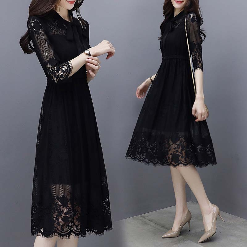 Lace dress womens 2020 summer new womens Korean 7-sleeve black temperament thin medium length skirt
