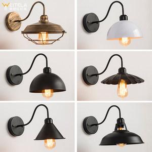 美式复古工业风LOFT锅盖创意个性酒吧怀旧咖啡馆餐厅铁艺装饰壁灯