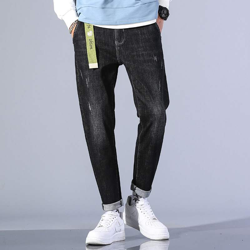 Manufacturers autumn and winter new elastic mens jeans mens small straight tube Korean slim fit mens jeans 113