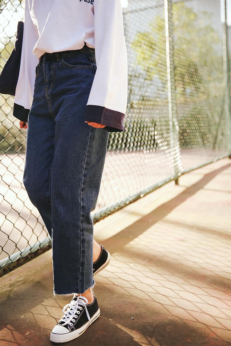 2020夏季新款韩国男朋友毛边牛仔裤子宽松女韩版高腰阔腿