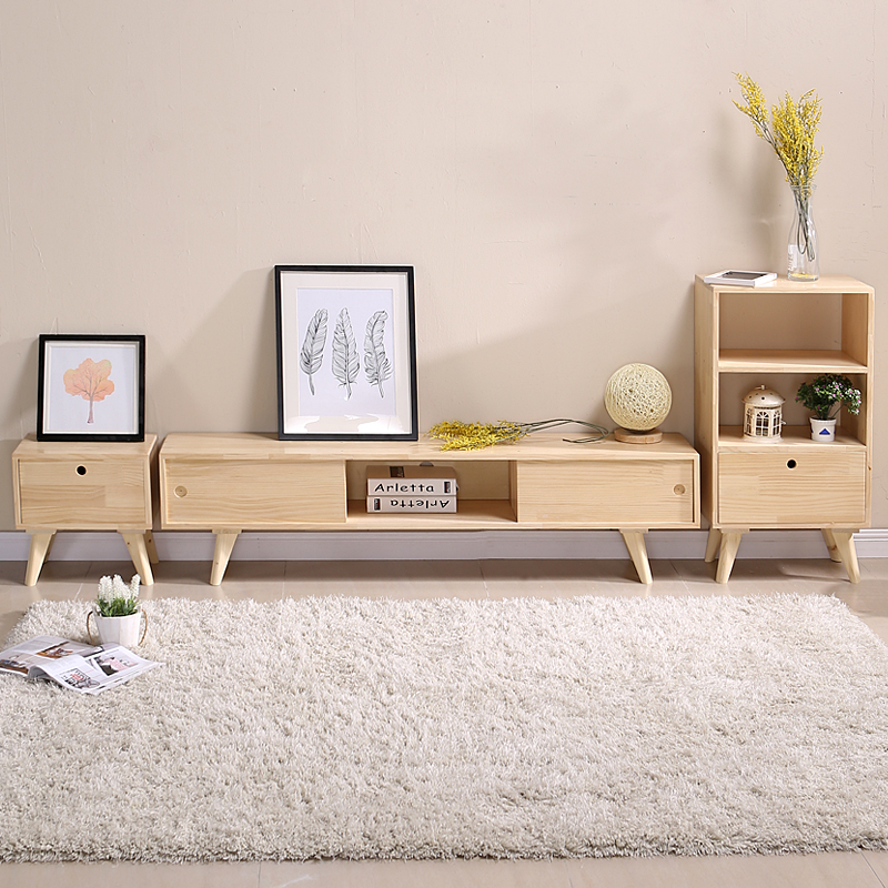 电视柜简约茶几组合宜家日式现代卧室北欧实木小户型电视机柜地柜