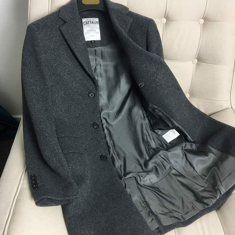 Genuine comfortable knitted wool coat autumn and winter mid length slim fit wool cashmere blended tweed coat for men