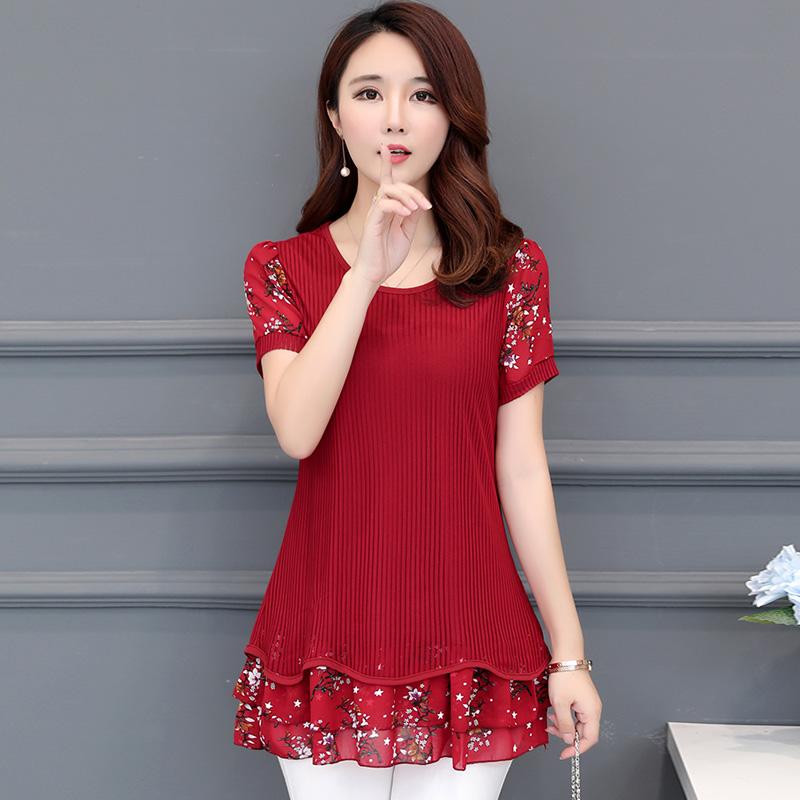 Autumn Korean womens dress big size mother medium length Floral Chiffon Long Sleeve T-Shirt foreign style small shirt loose base coat