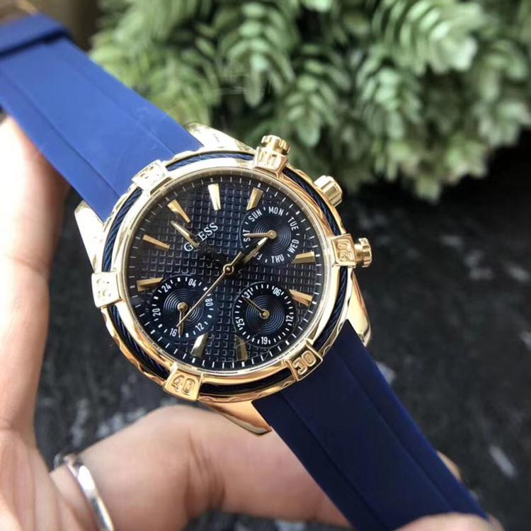 Guss watch blue silicon tape couple quartz watch w0674g2w0562l2w0562l3 Watch