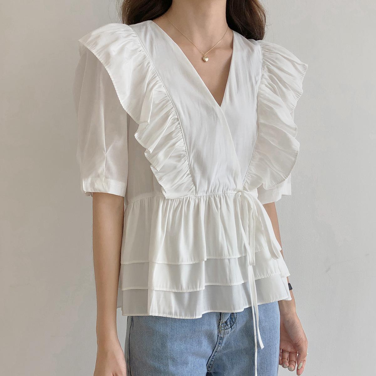 【欧凡】7281泡泡袖系带上衣2020夏新款V领荷叶边下摆褶皱衬衣女