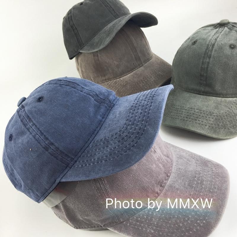 韩版复古做旧水洗牛仔棒球帽子男女街头百搭光板弯檐嘻哈鸭舌帽子