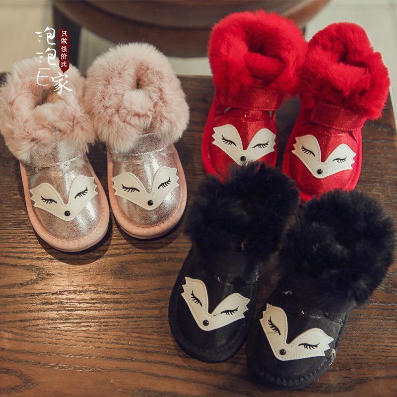 2018 новый зимний осенний ребенок ботинки мультики лиса мальчиков девочки обувь хлопок обувь принцесса ботинки снег сапоги
