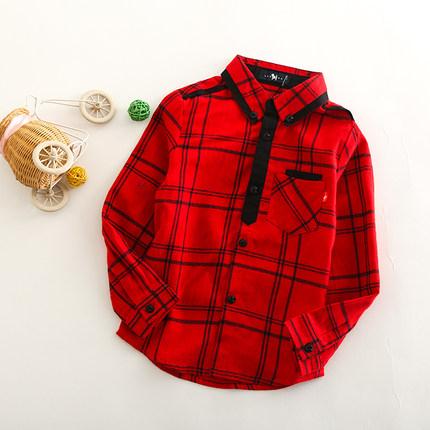 男童衬衫长袖 春秋新款儿童男宝宝磨毛红色格子中大童衬衣纯棉