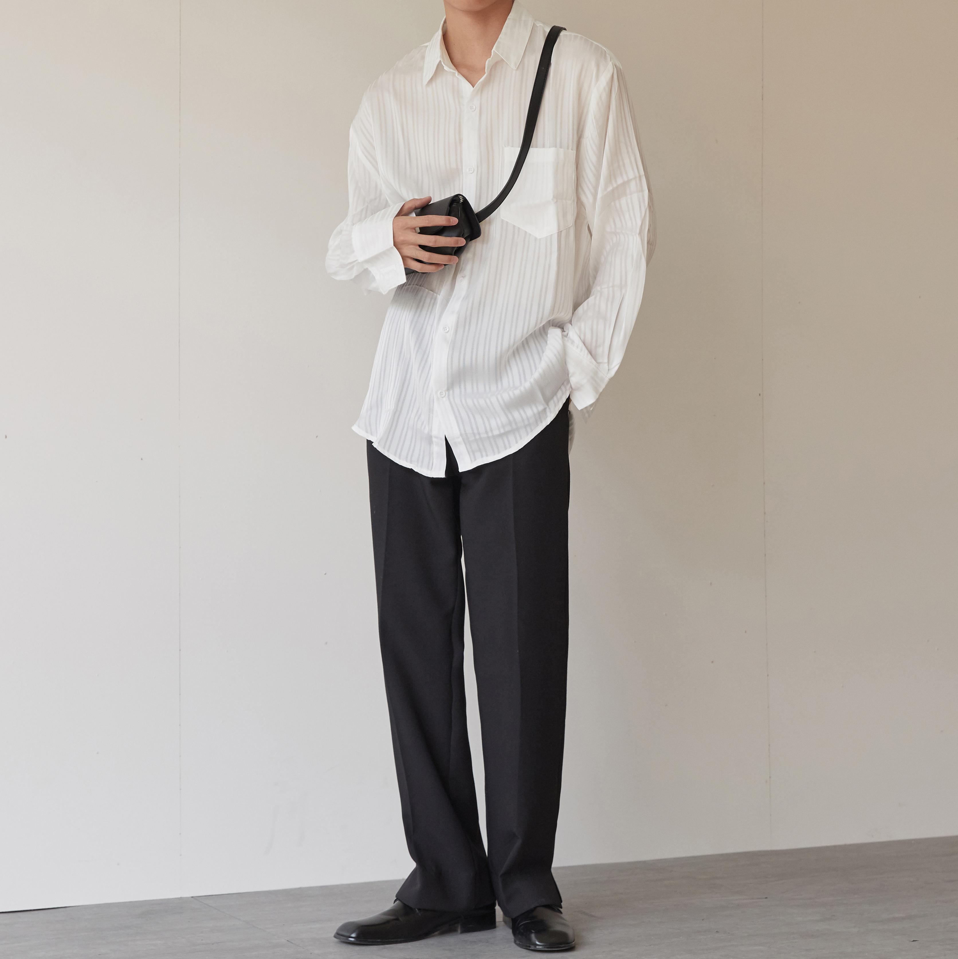 AJIUNE衬衫男长袖韩版潮流2019秋季新款男生纯色休闲网红衬衣限时秒杀