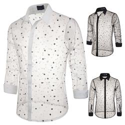 秋冬新款 舞台风格蕾丝透明款式雪花装扮男式翻领长袖衬衫S17/45
