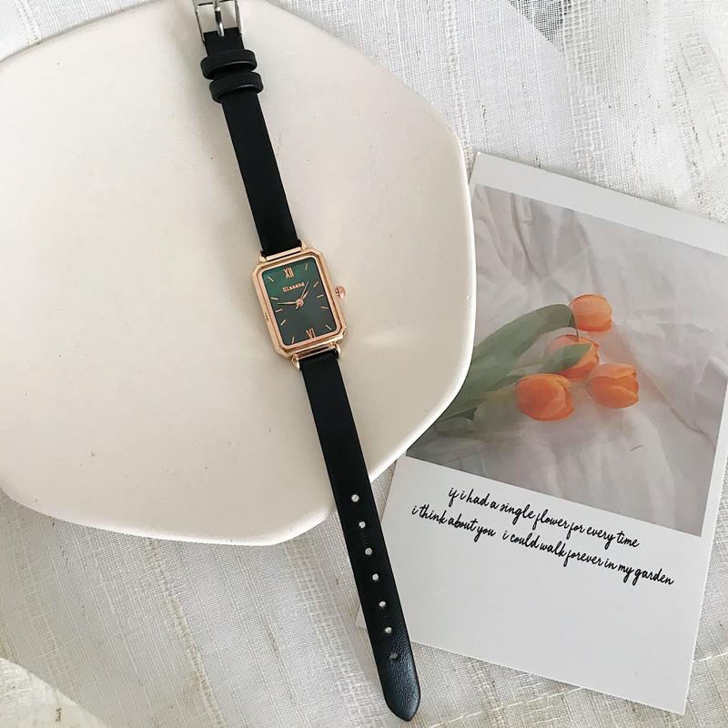 法国英国小众手表女ins风简约气质学生轻奢细带小巧方形小绿腕表