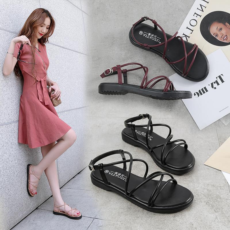 2020 new sandals womens summer flat soled student shoes simple versatile Korean version Harajuku flat heel womens shoes ROMAN SANDALS