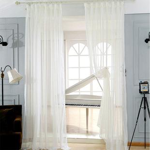 纯白色棉麻窗纱现代简约风格客厅落地窗纱特价韩式透气成品窗帘纱