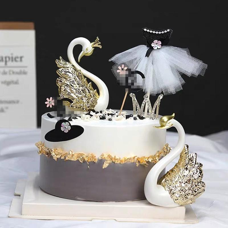 蛋糕装饰摆件镀金银色天鹅情人节香水瓶帽子插件甜品台派对搭配