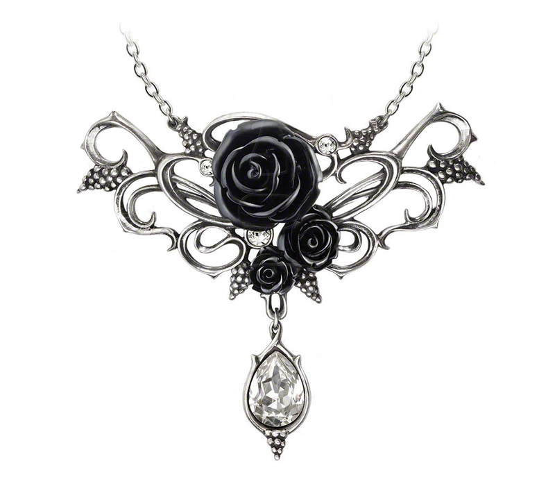 Alchemy Gothic Dionysian Rose Crystal Pendant Necklace